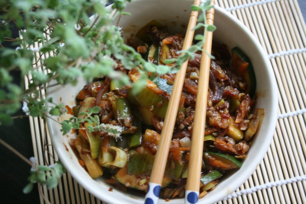 kasza gryczana i warzywa